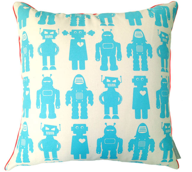 Robots Aqua Square Pillow