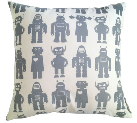 Robots Steel Grey Square Pillow