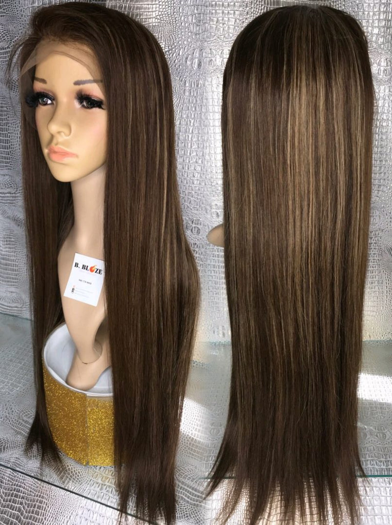 Brown Highlights Lace Wig