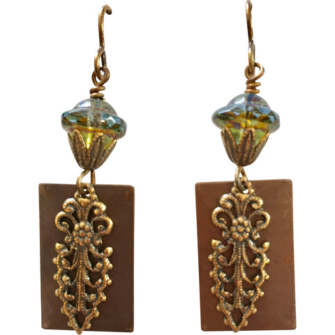 Antiqued Brass Dangle Earrings with Czech Saucer Bead