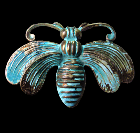 Brass Stamping of a  Bee in verdigris patina. Use as a pendant or embellishment.