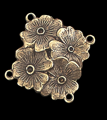 Brass stamping connector, or link with four artistically arranged flower.