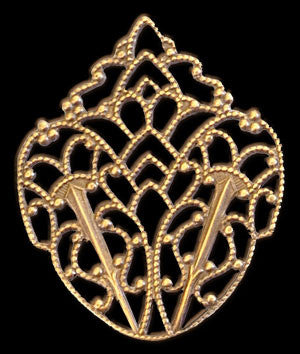 Victorian Filigree Crest Brass Stamping for Earrings