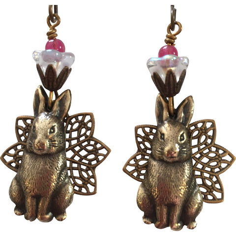 Brass Stampings of Bunnies Over Filigree Earrings