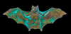 Gothic Bat Brass stamping in Verdigris, Black or Oxidized Brass