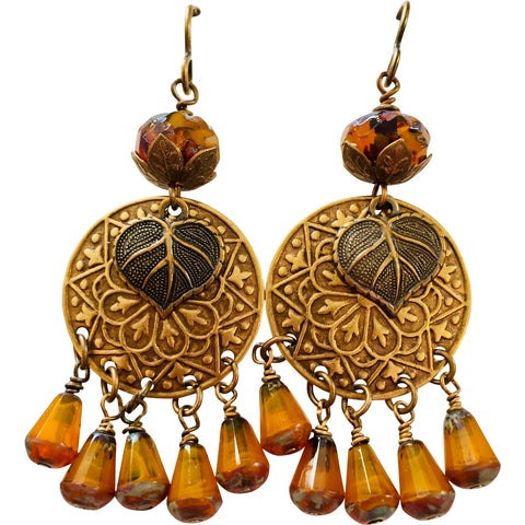 Leaf Earrings For Fall Brass Stampings and Czech Glass