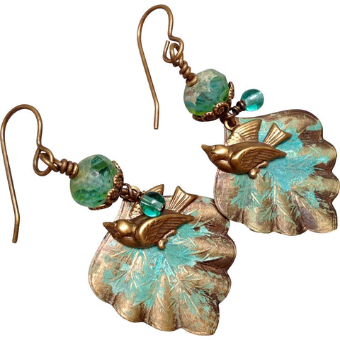 Brass Earrings of Songbirds in the Aspens