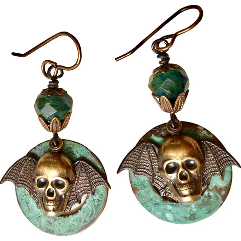 Bat/Skull Earrings Brass Stampings with patina Finish