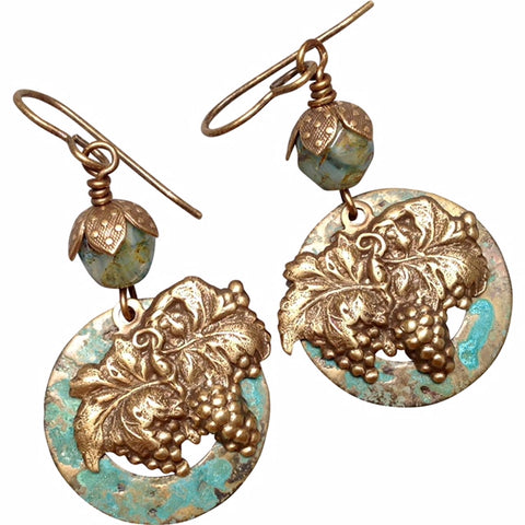 Grape Cluster Earrings of Stamped Brass with Verdigris Background