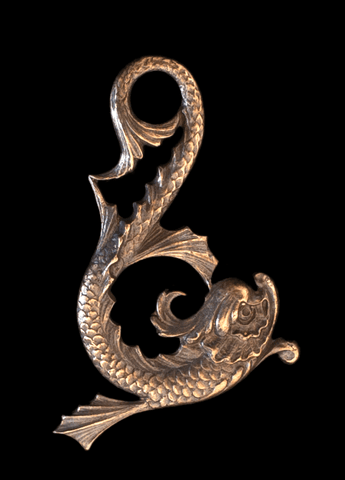 Brass Stamping of an Asian themed Koi Fish in Verdigris or Brass Ox