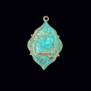 Arabian Drop Solid Brass Stamping in Verdigris Green Patina or Oxidized Brass for Jewelry Making