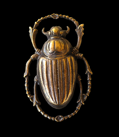 Stamping of a Scarab beetle in oxidized brass
