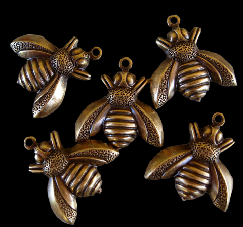 Bumble Bee CharmBrass Stamping of Oxidized Brass