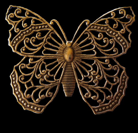 Filigree Butterfly Brass Stamping