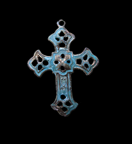 Brass Stamped Filigree Cross Charms, Small (4)