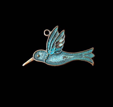 Hummingbird Charm Brass Stamping With Verdigris Finish