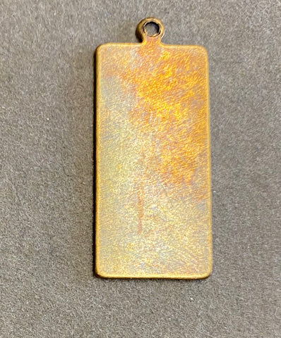 Brass Rectangle Blank with a Ring in Verdigris or Brass Ox