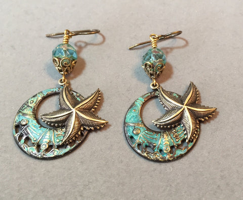 Starfish Over a Verdigris Ring Brass Stamping
