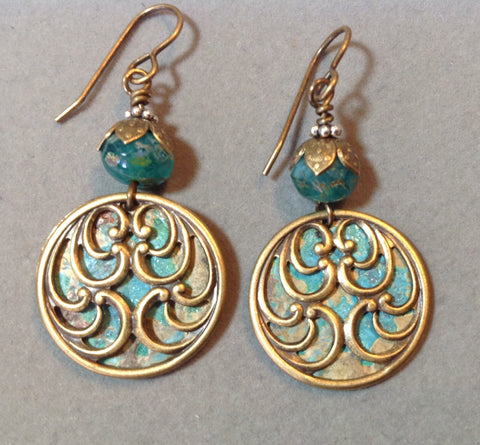 Paisley Earrings Brass Stampings with Patina and Czech Beads