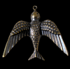 XL Three-D Bird in Oxidized Brass or Verdigris Finish Brass Stamping