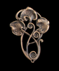 Art Nouveau Oxidized Leaves Brass Stamping
