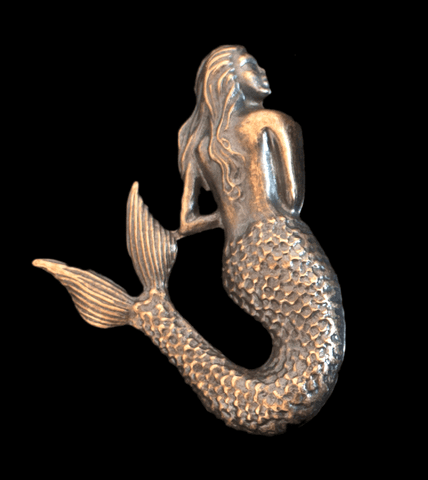 Mermaid, Large Brass Stamping