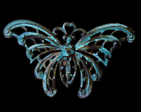 Extra Large Butterfly Brass Stamping with Virdigris Patina, or Oxidized Brass Finish