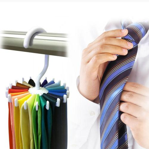 1 Pack Men Tie Rack Rotating Adjustable Organizer Belt Scarf Holds 20 Items NEW
