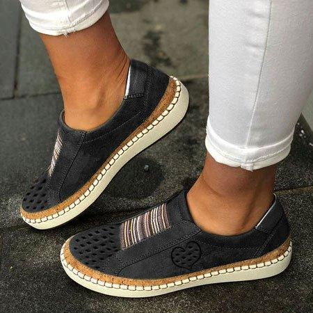 Slide Hollow-Out Round Toe Casual Sneakers-Love