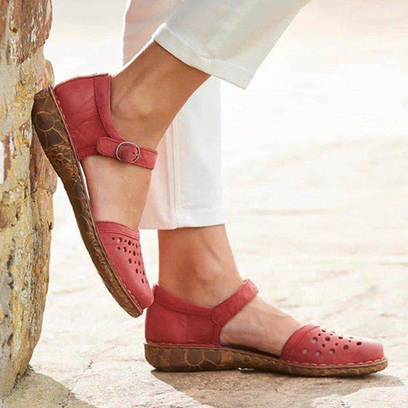Women Summer Ladies Round Toe Hollow-Out Sandals