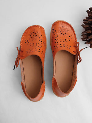 Breathable Hollow Out Lace Soft Leather Shoes