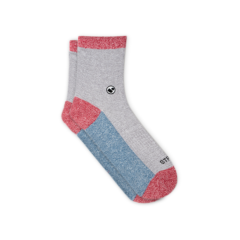 Womens All Light Greys (Red) Calf Sock