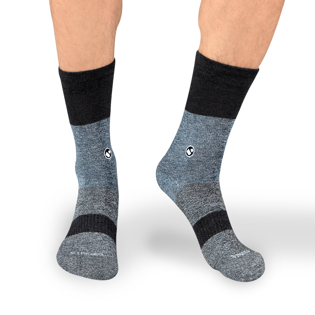 Mens Three Stripes Black Calf Sock