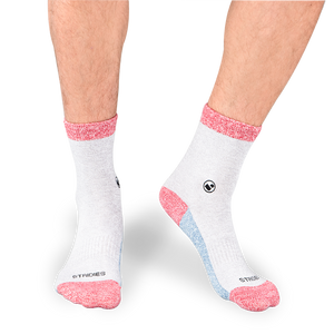 Mens All Light Greys (Red) Calf Sock