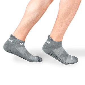 Mens Grey Pilates Ankle Socks 4 Multipack