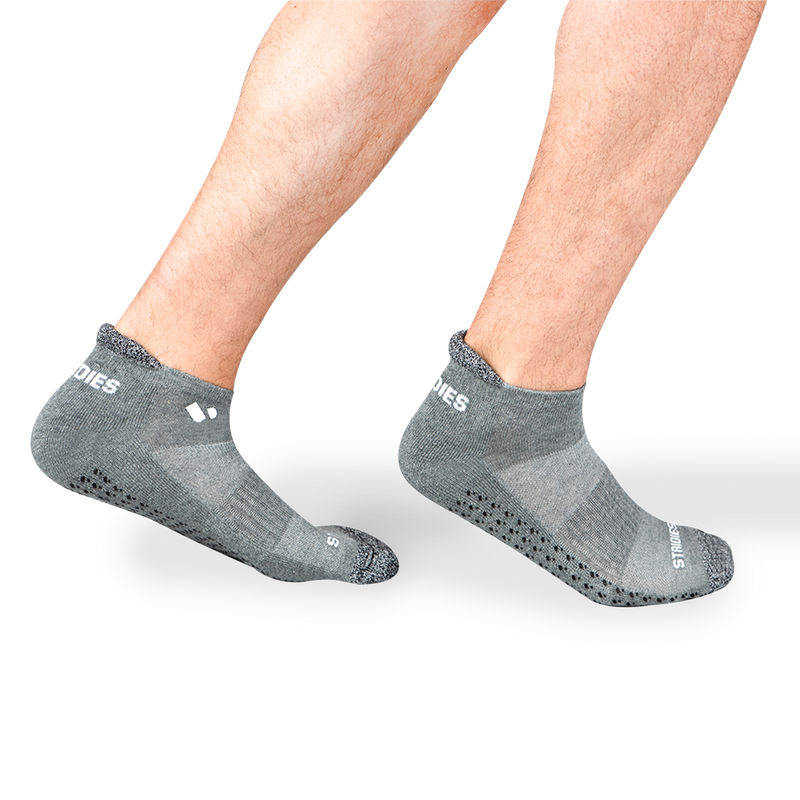 Mens Grey Pilates Ankle Socks 8 Multipack