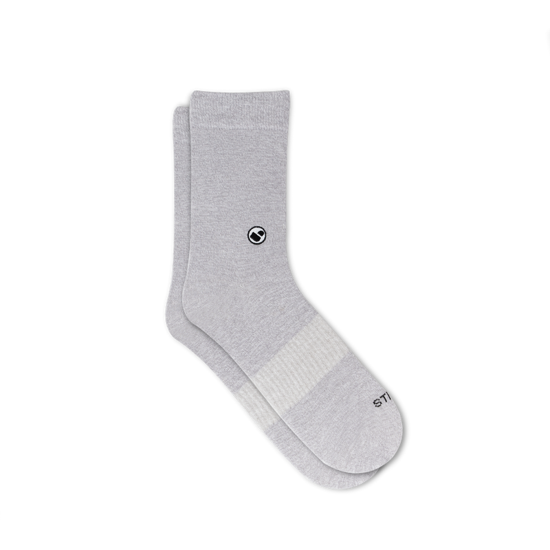 Womens Solid Grey Calf Sock