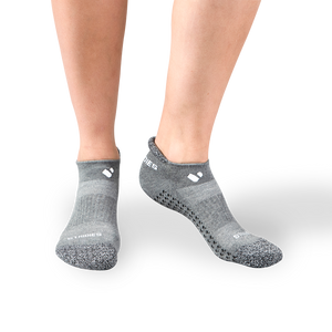 Womens Grey Pilates Ankle Socks