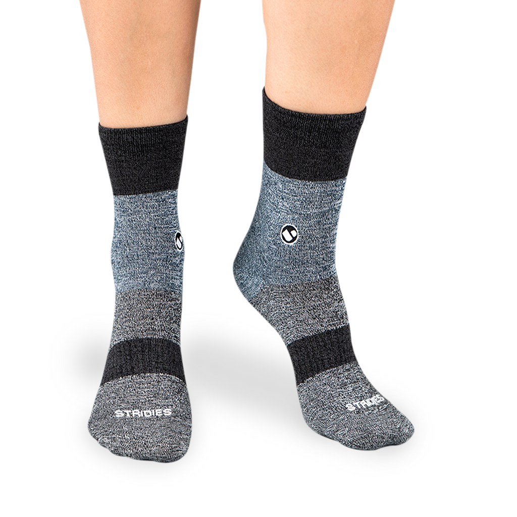 Womens Three Stripes Black Calf Sock