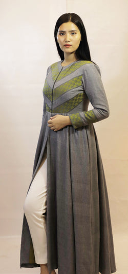 FRONT ZIP PANELLED MOTIF FULL LENGTH HANDLOOM DRESS
