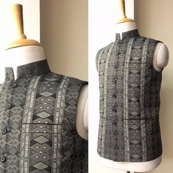 Mens Stand collar sleeveless jacket with Kuki mens Traditional shawl motif on front & back