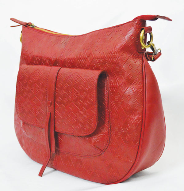 Leather embossed ladies handbag