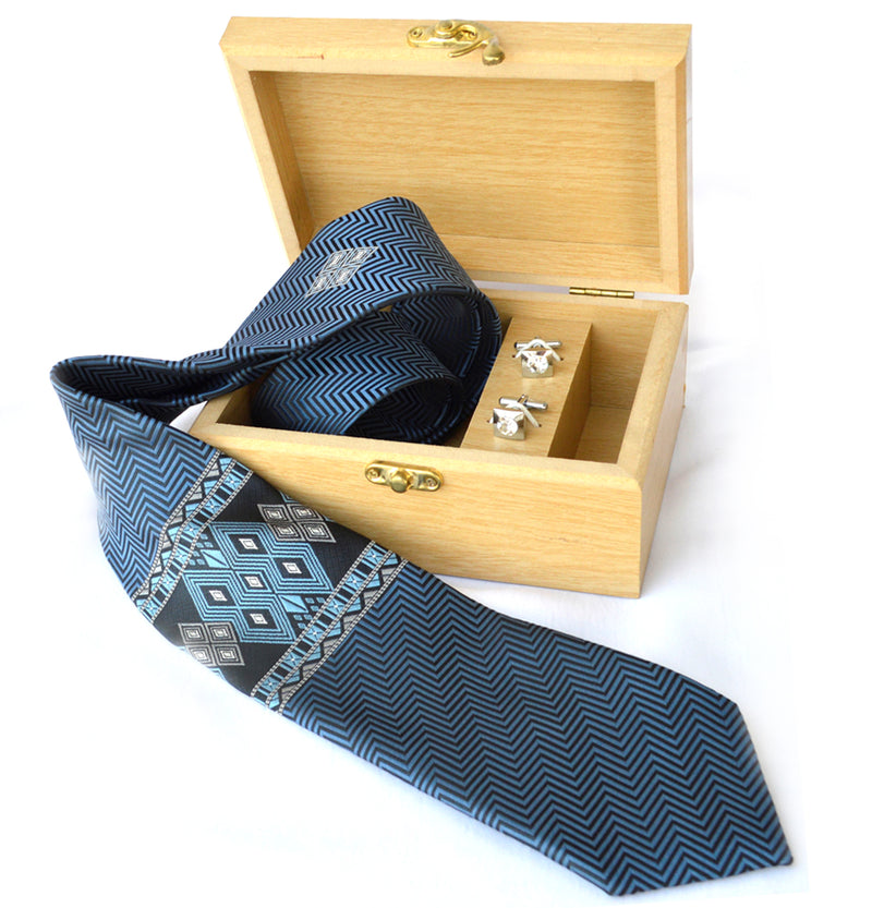 SAIPIKHUP WOVEN NECKTIE WITH WOODEN GIFT BOX & CUFFLINK