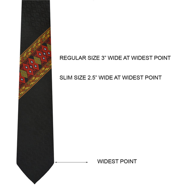 NECKTIE WITH DIAGONALLY PLACED SAIPIKHUP WITH WOODEN GIFT BOX & CUFFLINK
