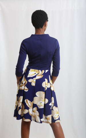 V Neck Floral Dress - Navy
