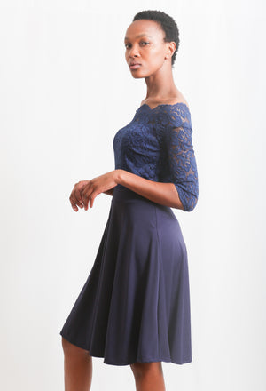 Boat Neck Lace Top A-Line Dress - Navy