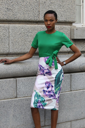 Green Floral Printed Sheath Dress