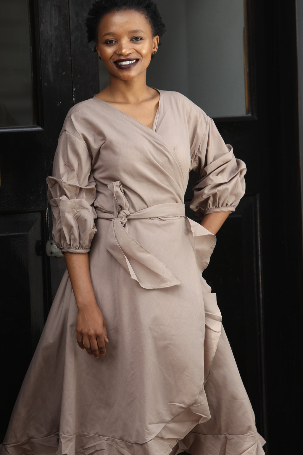 Cotton wrap dress - Taupe