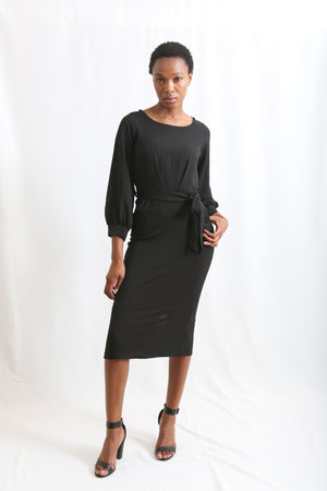 Puff Sleeve belted Chiffon Pencil Dress - Black