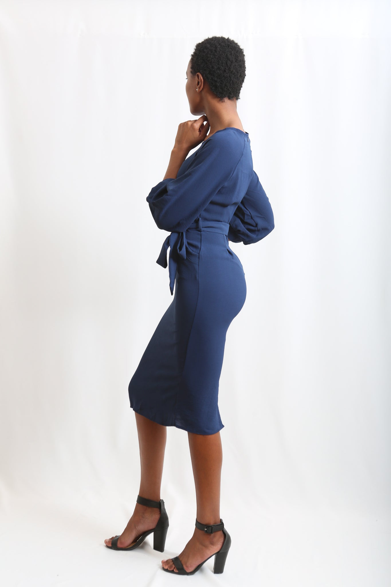 Puff Sleeve belted Chiffon Pencil Dress - Navy